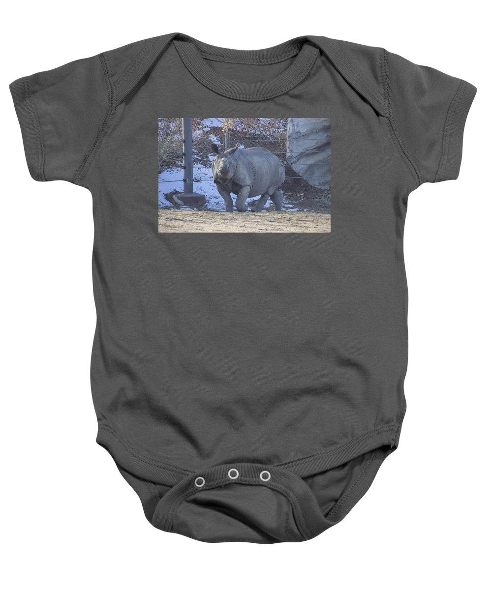 Rhinoceros Baby Onesie featuring the photograph Rhino by Becca Buecher