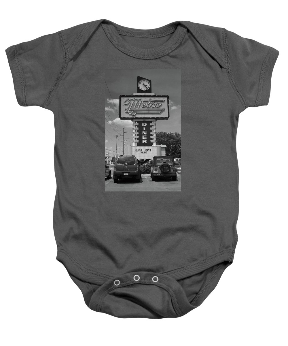 66 Baby Onesie featuring the photograph Route 66 - Metro Diner by Frank Romeo