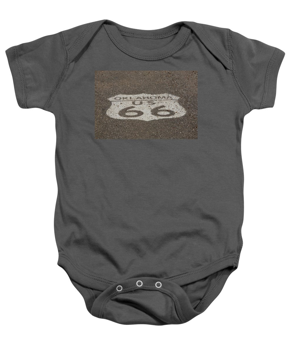 66 Baby Onesie featuring the photograph Route 66 - Oklahoma Shield by Frank Romeo