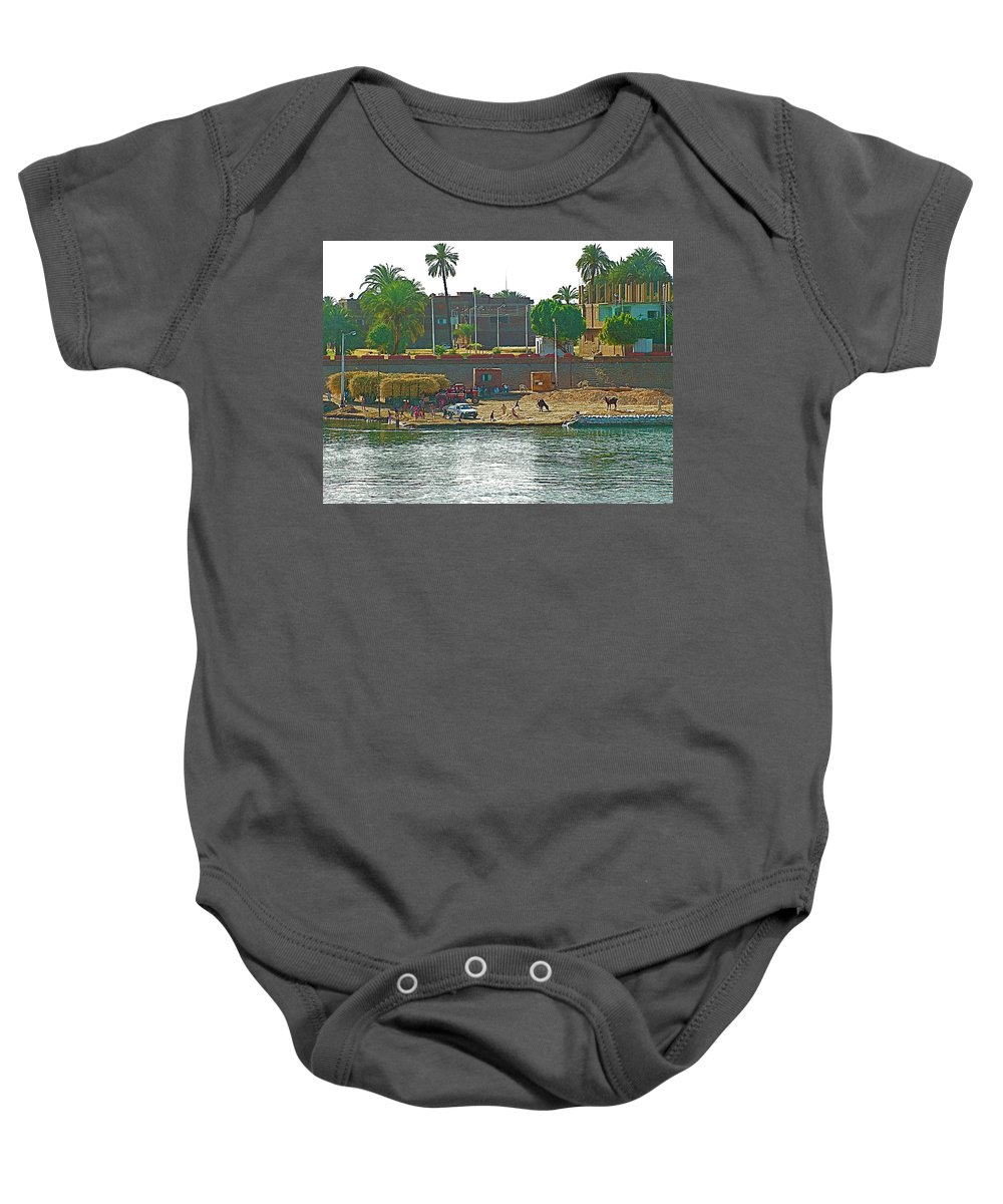 Scene Along Nile River Between Luxor And Qena Baby Onesie featuring the photograph Scene Along Nile River Between Luxor And Qena-egypt by Ruth Hager