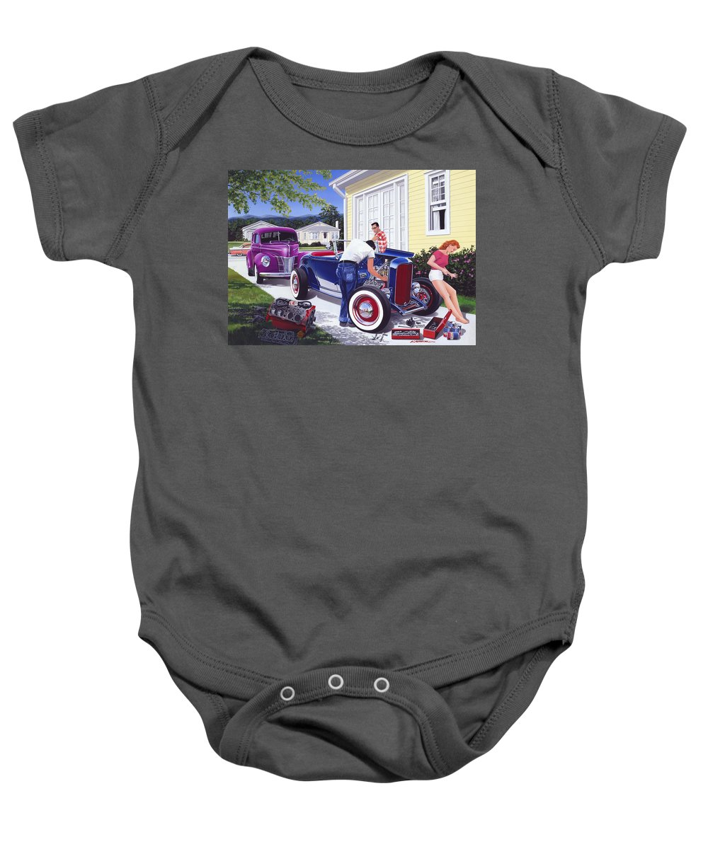 Adult Baby Onesie featuring the photograph Shade Tree Mechanic by MGL Meiklejohn Graphics Licensing