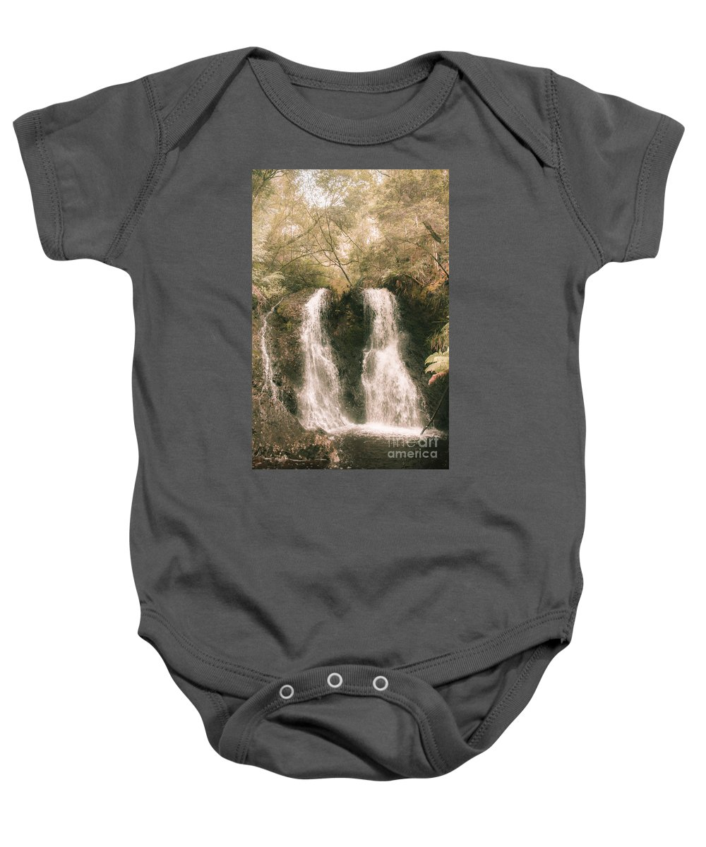 Waterfall Baby Onesie featuring the photograph Soft Vintage Forest Waterfall In Tasmania by Jorgo Photography - Wall Art Gallery