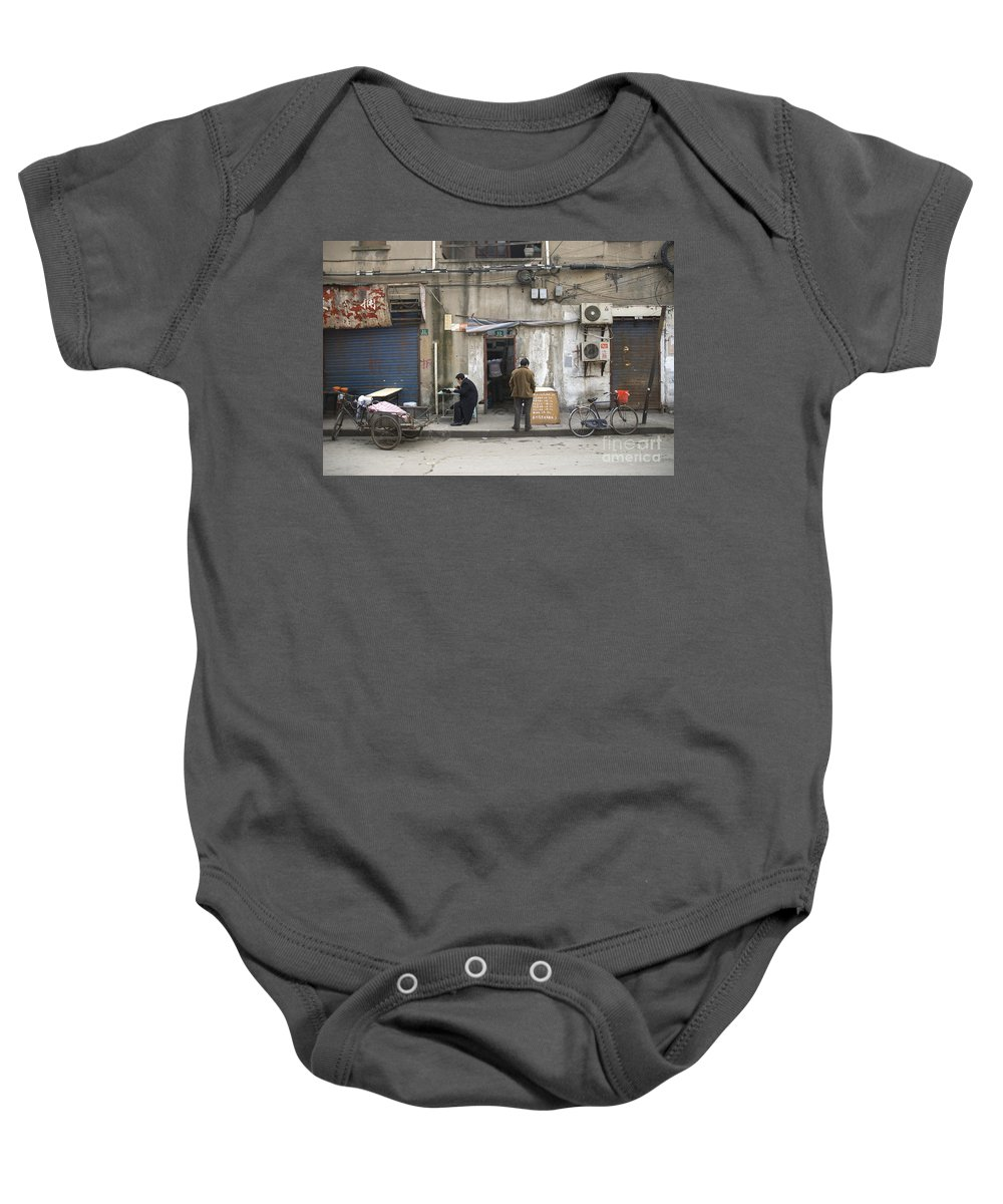 Street Baby Onesie featuring the photograph Street Food Stall In Shanghai China by Jacek Malipan