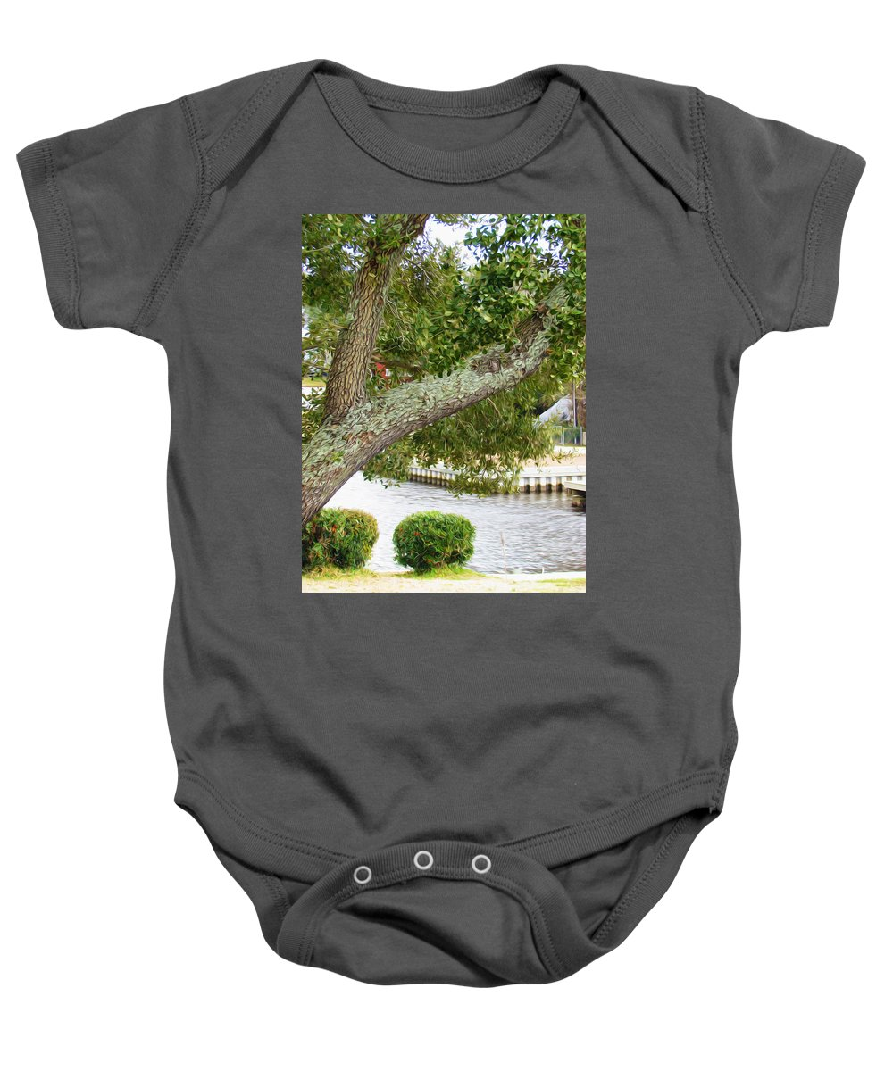 Tree Baby Onesie featuring the painting Summer Landscape by Jeelan Clark