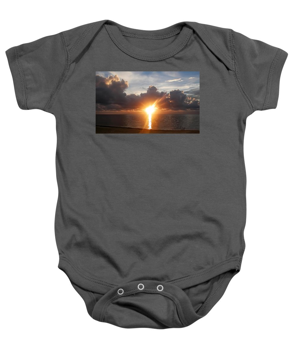Sunrise Baby Onesie featuring the photograph Sunrise In Cancun by Bill Cannon