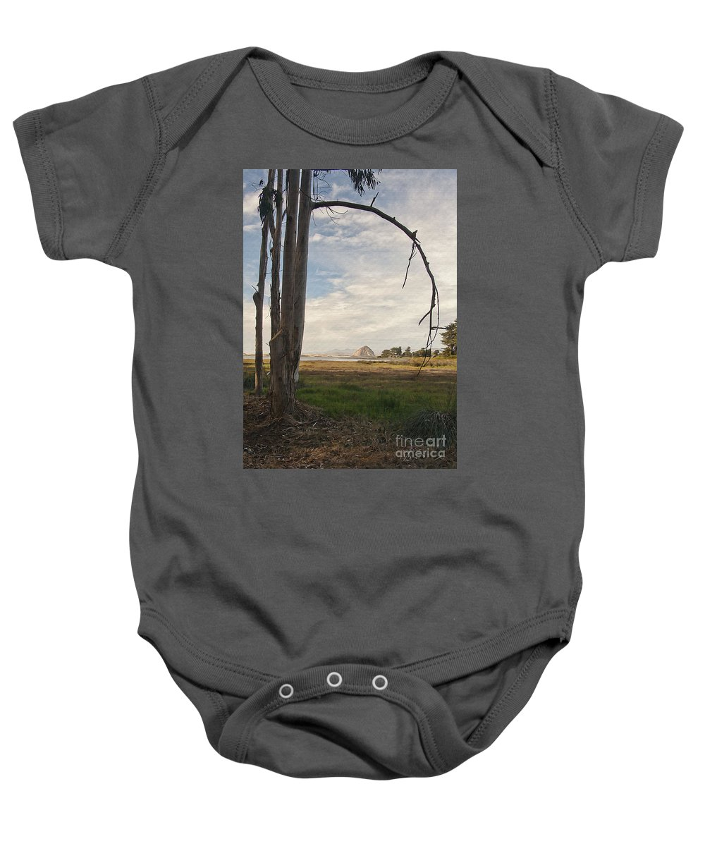 Morro Rock Baby Onesie featuring the digital art Sweet Water View by Sharon Foster