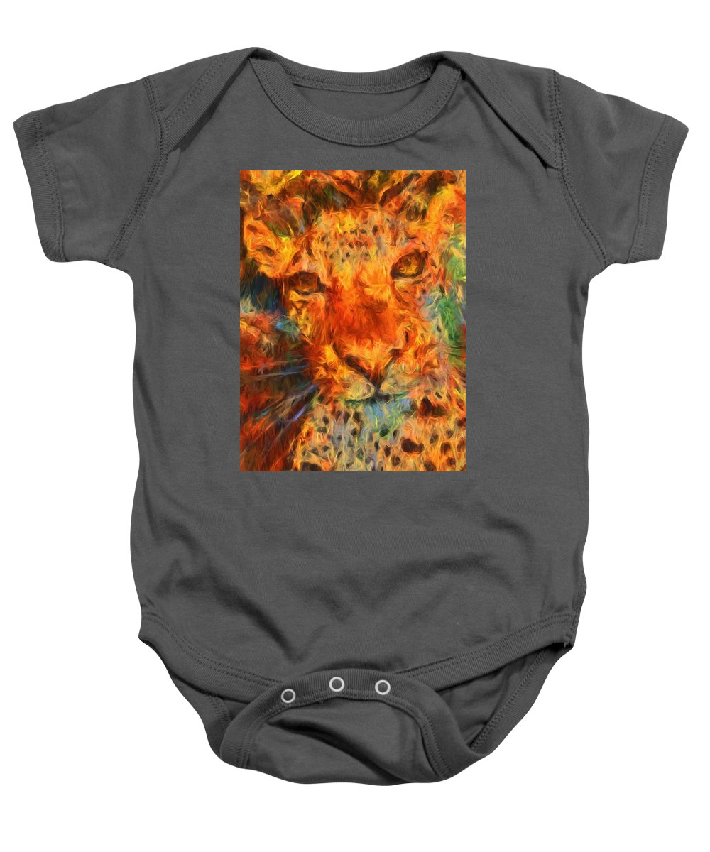 Jaguar Baby Onesie featuring the photograph That Cat by Alice Gipson