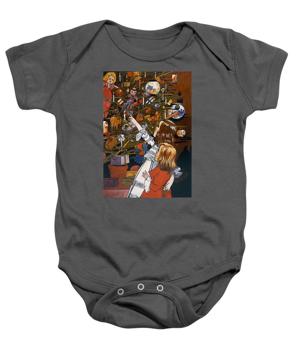 Greetings Baby Onesie featuring the painting The Christmas Tree by English School