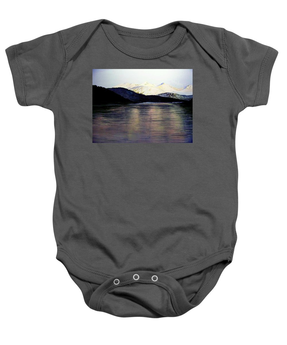 Watercolor Baby Onesie featuring the painting The Deepening Day by Brenda Owen