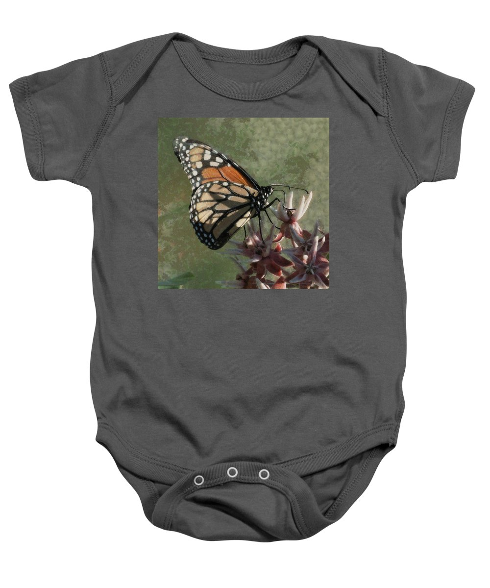 Bugs Baby Onesie featuring the digital art The Monarch Painterly by Ernie Echols