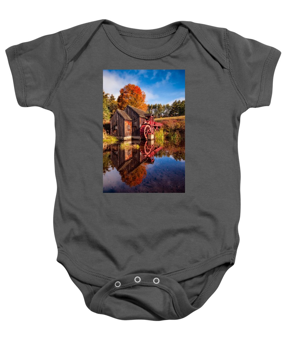 Grist Mill Baby Onesie featuring the photograph The Old Grist Mill by Michael Blanchette