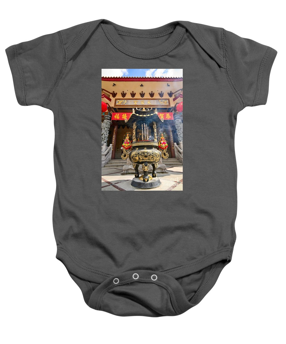 Taoist Baby Onesie featuring the photograph Thien Hau Temple A Taoist Temple In Chinatown Of Los Angeles. by Jamie Pham