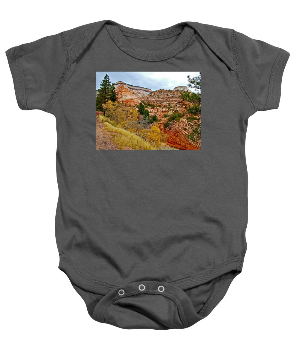 View Along East Side Of Zion-mount Carmel Highway In Zion National Park Baby Onesie featuring the photograph View Along East Side Of Zion-mount Carmel Highway In Zion National Park-utah  by Ruth Hager