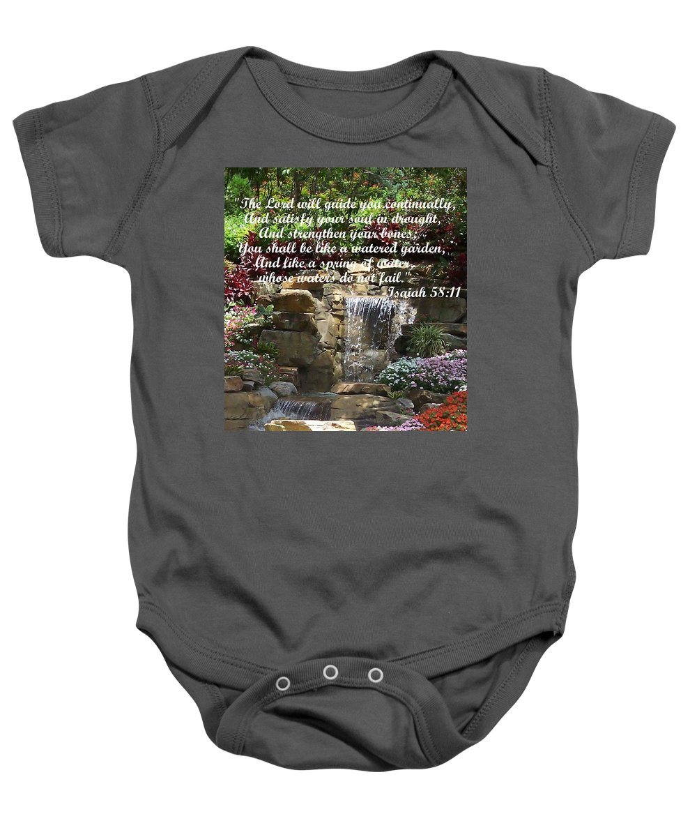 Inspirational Baby Onesie featuring the photograph Watered Garden by Pharris Art