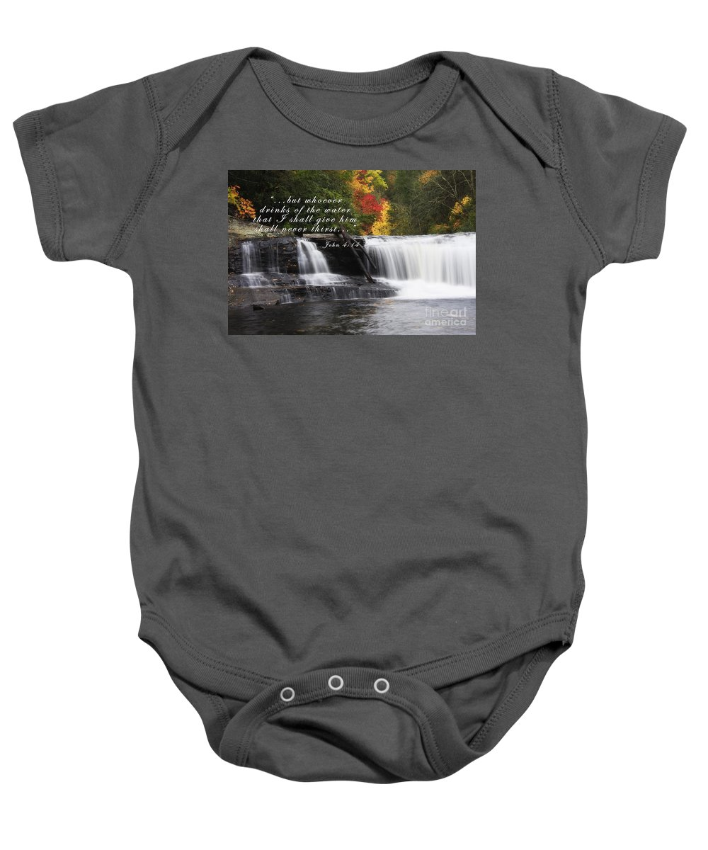 Hooker Falls Baby Onesie featuring the photograph Waterfall With Scripture by Jill Lang