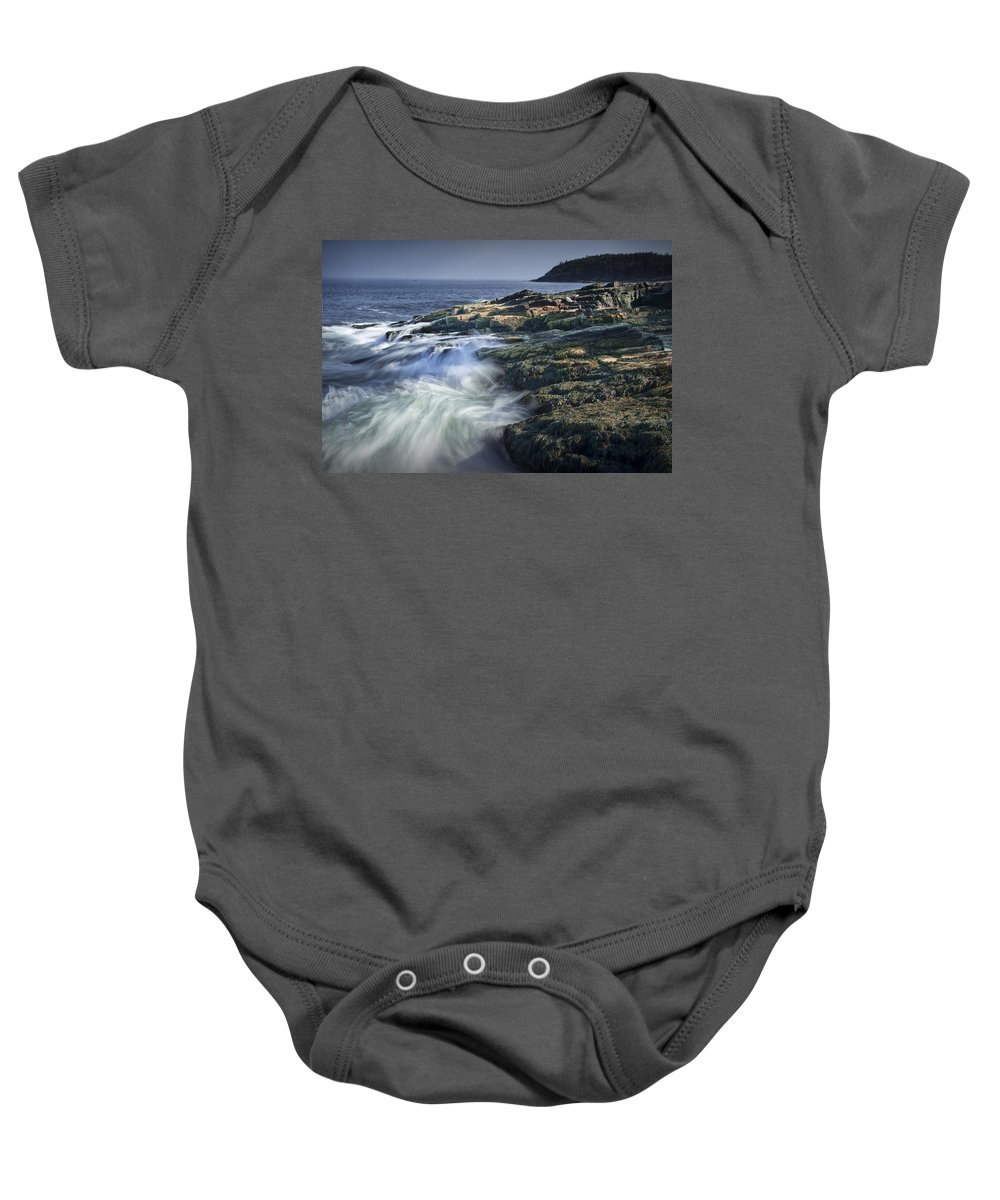 Art Baby Onesie featuring the photograph Waves Crashing Against The Shore In Acadia National Park by Randall Nyhof