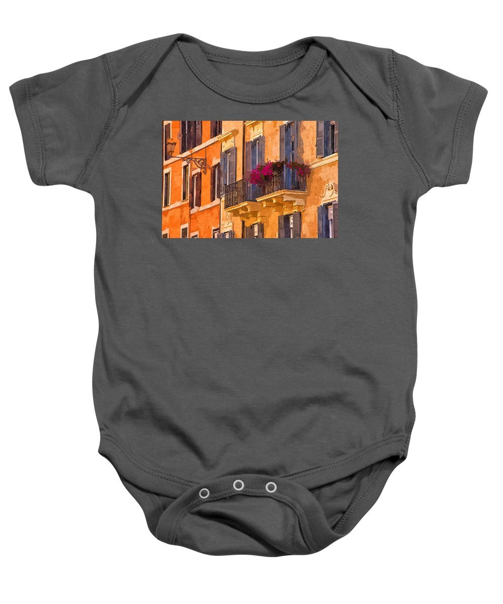 Rome Baby Onesie featuring the photograph Window Boxes by David Pringle