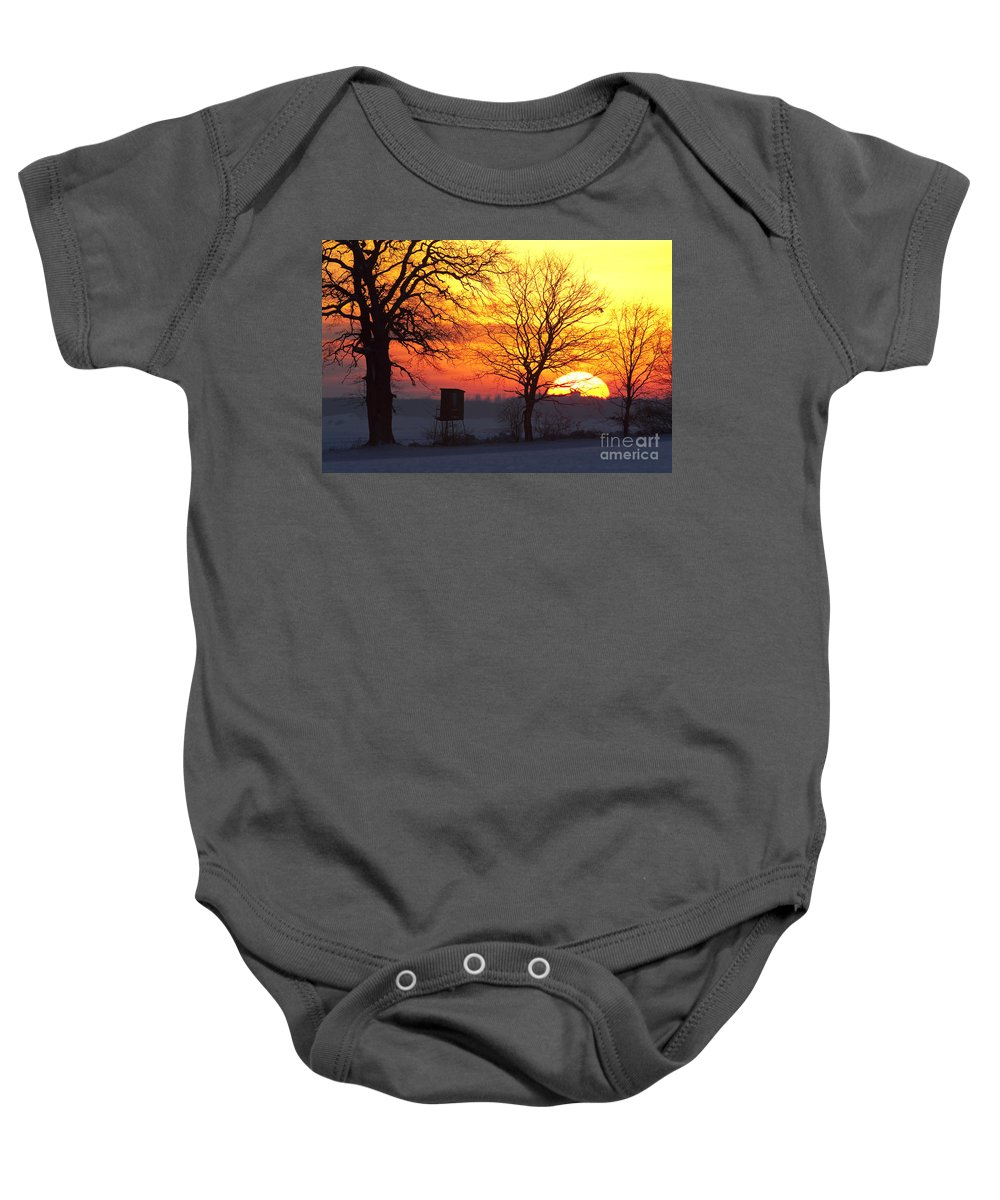 Deerstand Baby Onesie featuring the photograph 120425p240 by Arterra Picture Library