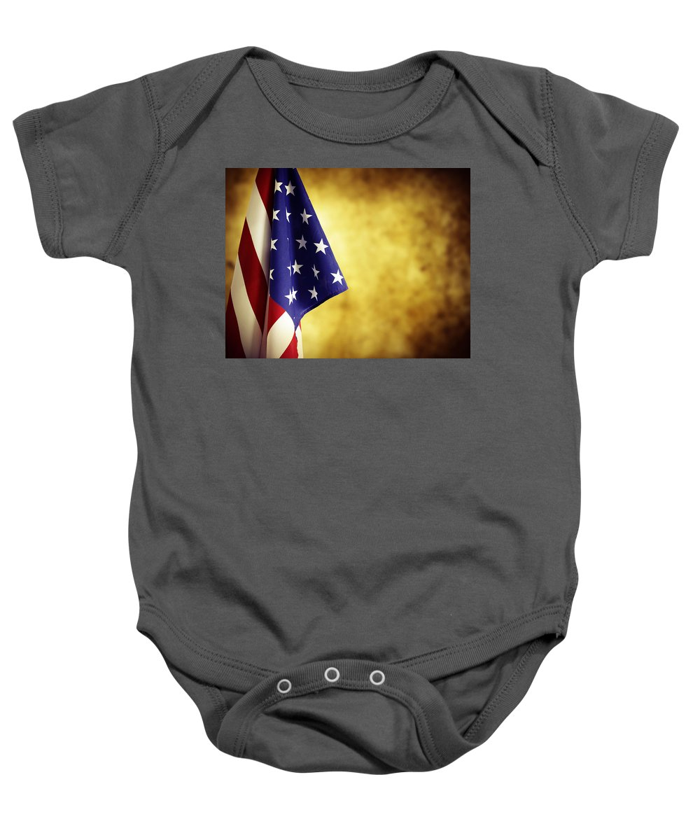 Government Baby Onesie featuring the photograph American Flag by Les Cunliffe