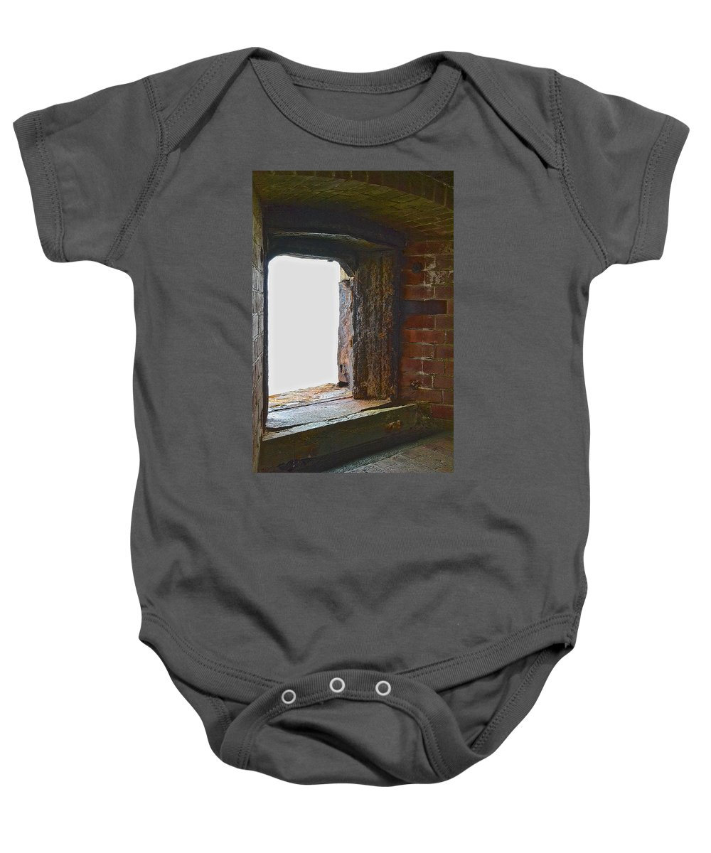 Cannon Turret Baby Onesie featuring the photograph 1861 Cannon Turret Fort Point San Francisco Bay by Bill Owen