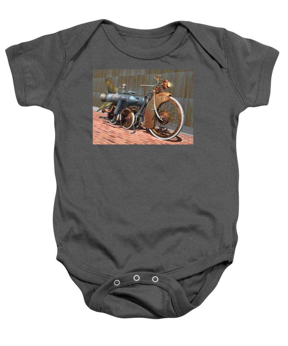Steampunk Baby Onesie featuring the digital art 1900 Dual Rocket Steambike by Stuart Swartz