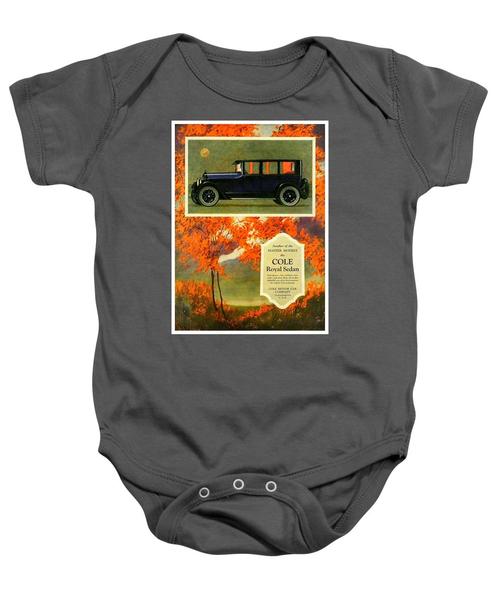Cole Baby Onesie featuring the digital art 1923 - Cole Royal Sedan - Advertisement - Color by John Madison