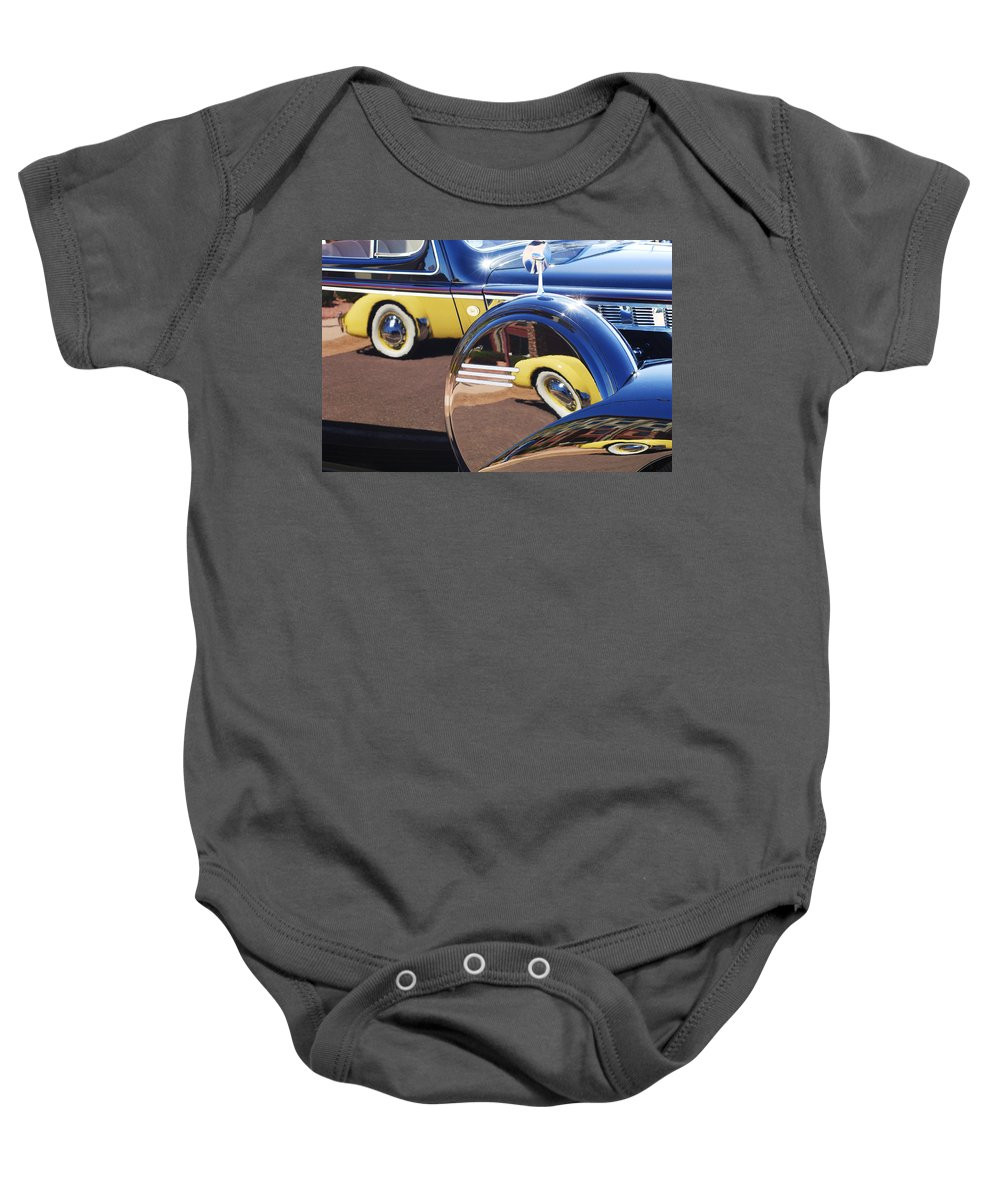 1937 Cord 812 Phaeton Reflected Into Packard Baby Onesie featuring the photograph 1937 Cord 812 Phaeton Reflected Into Packard by Jill Reger