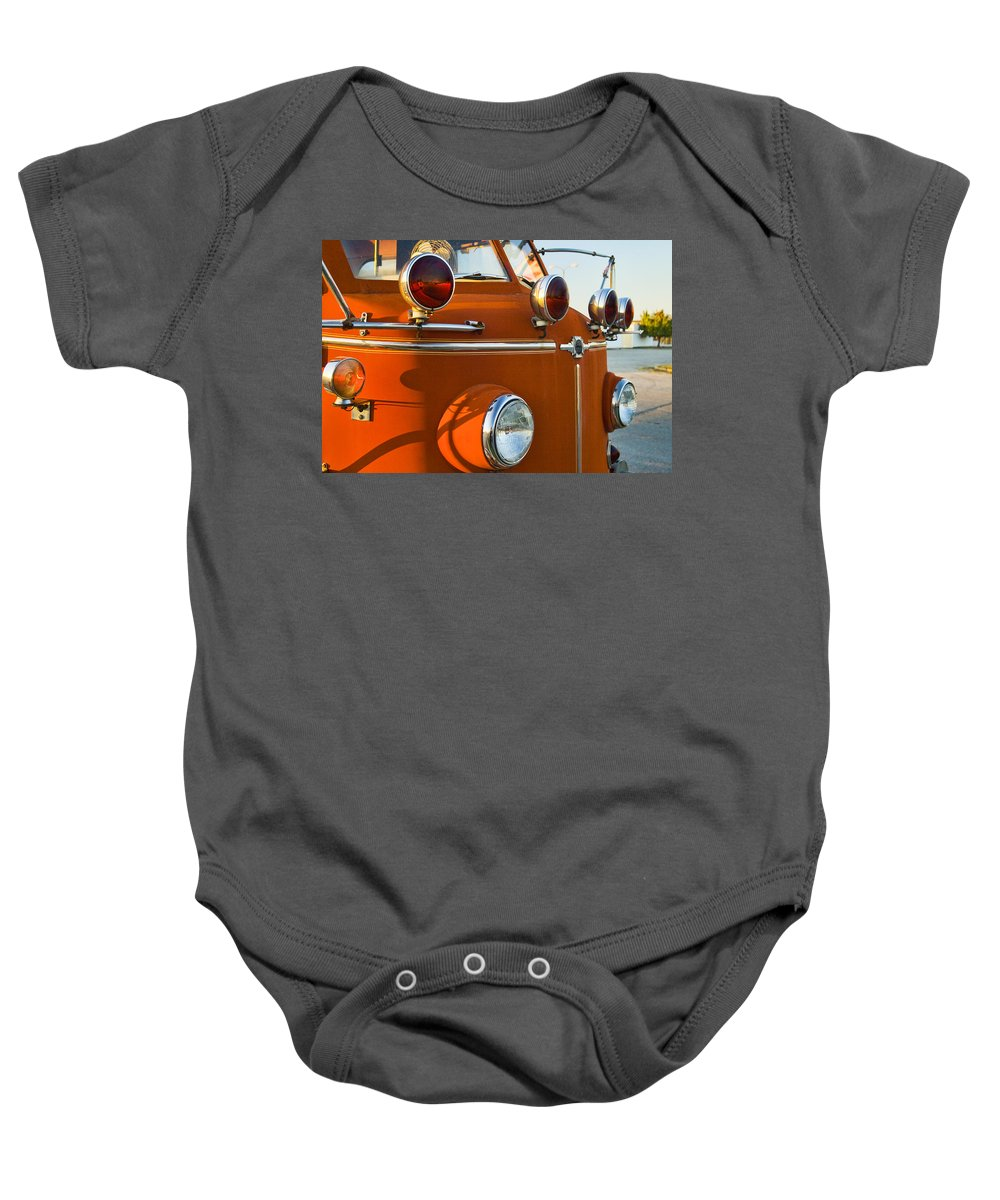 Lafrance Baby Onesie featuring the photograph 1954 Classic American Lafrance Type 700 Pumper Fire Engine by Kathy Clark