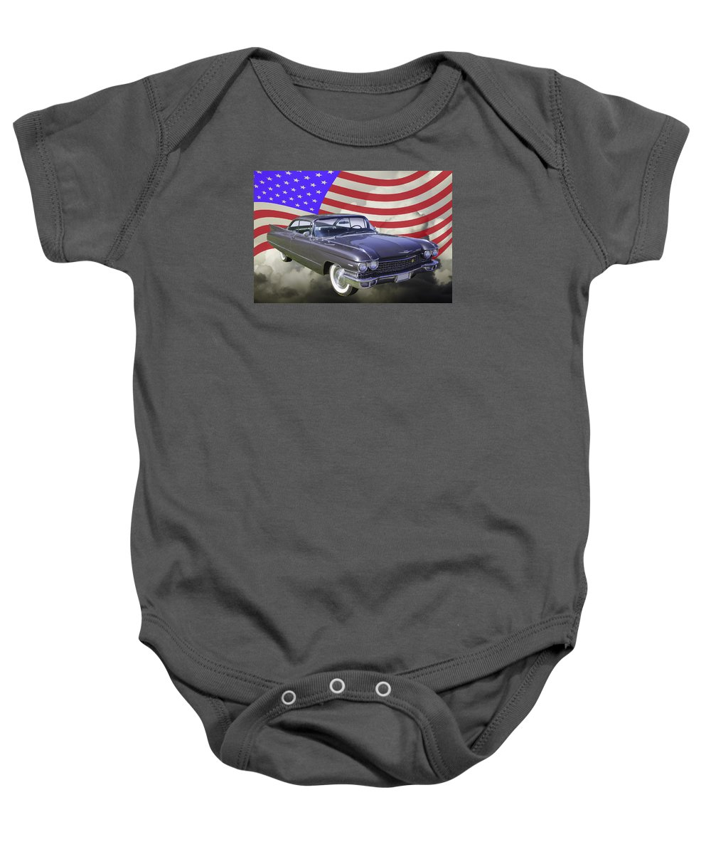 1960 Cadillac Baby Onesie featuring the photograph 1960 Cadillac Luxury Car And American Flag by Keith Webber Jr