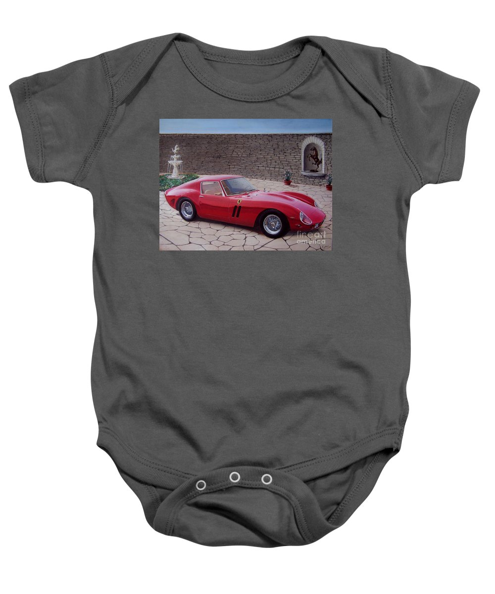 1962 Baby Onesie featuring the drawing 1962 Ferrari 250 Gto by Paul Kuras