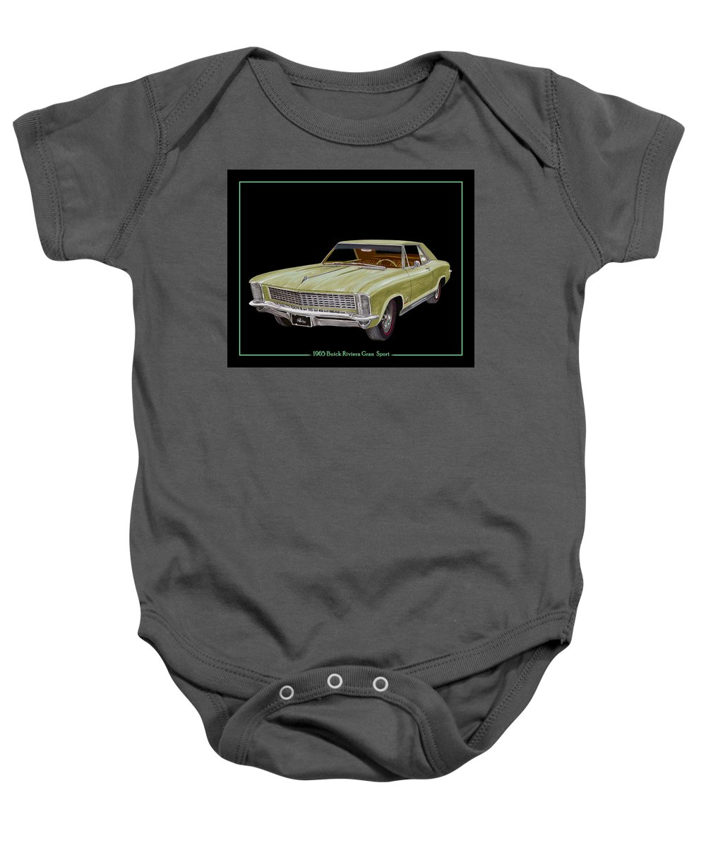 The 1965 Buick Riviera Gran Sport Option Baby Onesie featuring the painting 1965 Buick Riviera Gran Sport by Jack Pumphrey