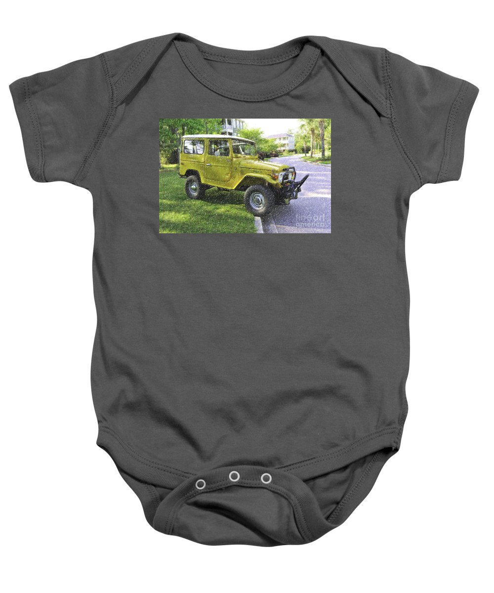 1976 Baby Onesie featuring the digital art 1976 Toyota Landcruiser by Dale Powell