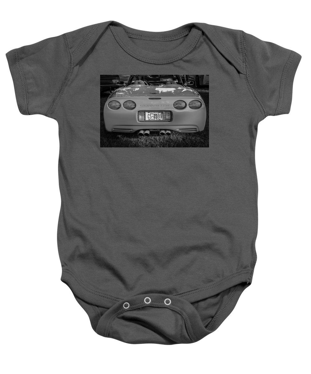 1999 Corvette Baby Onesie featuring the photograph 1999 Chevrolet Corvette Bw by Rich Franco