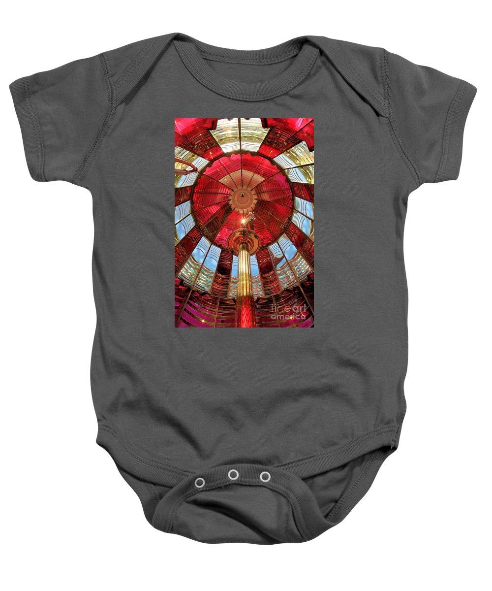 First Order Fresnel Lens Baby Onesie featuring the photograph 1st Order Fresnel Lens by Adam Jewell