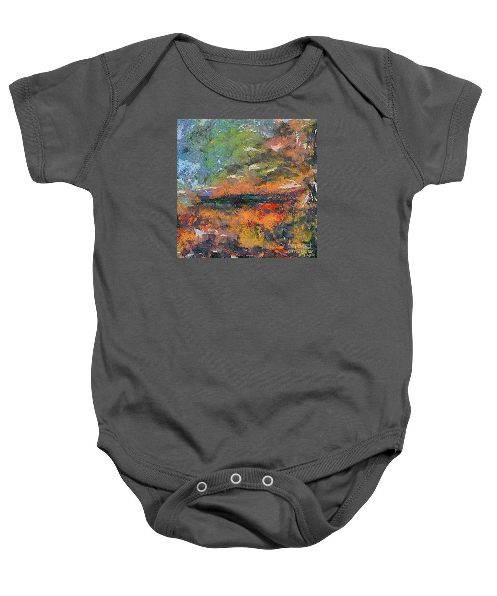 Dawn Baby Onesie featuring the painting At Dawn by Dragica Micki Fortuna