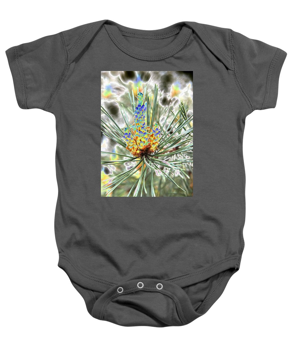 Pine Baby Onesie featuring the photograph Blue Shadow by Christiane Schulze Art And Photography