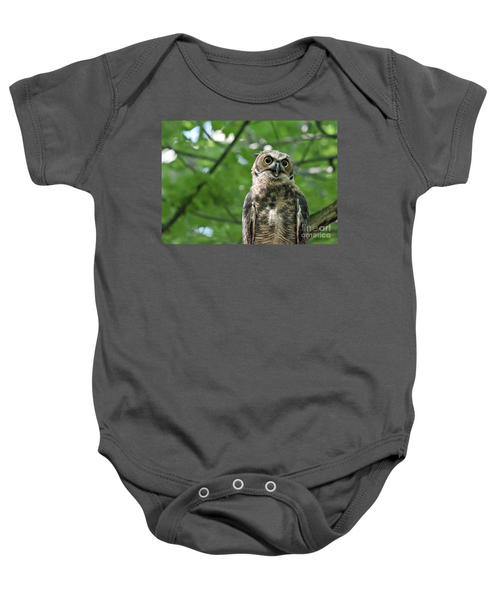 Owlets Baby Onesie featuring the photograph Bright Eyes by Cheryl Baxter
