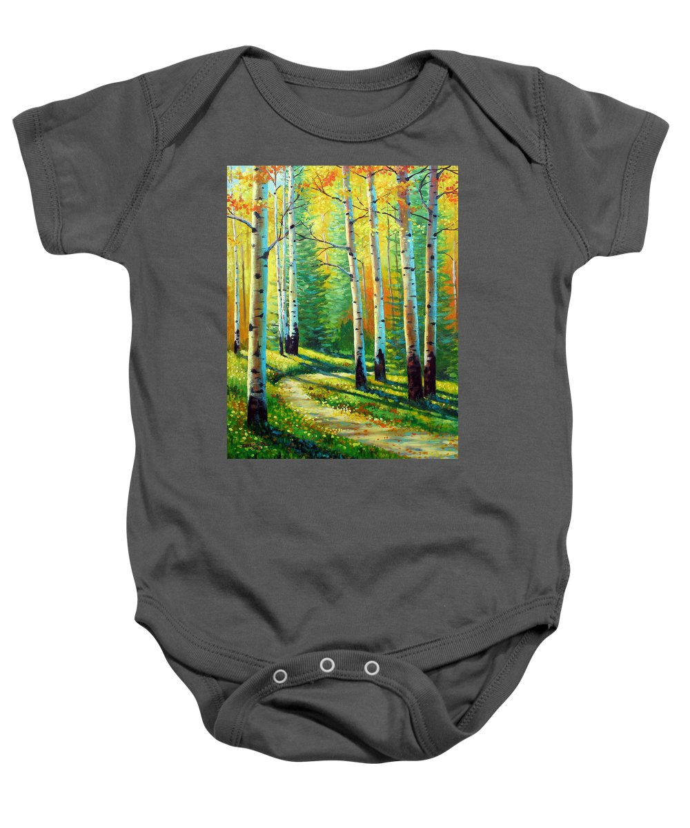 Landscape Baby Onesie featuring the painting Colors Of The Season by David G Paul