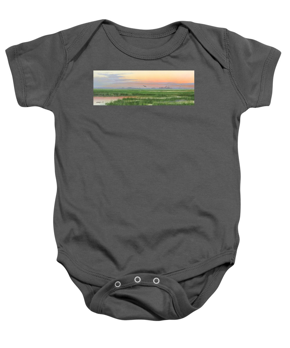 Marsh Baby Onesie featuring the painting Divine Whisper by Mike Brown