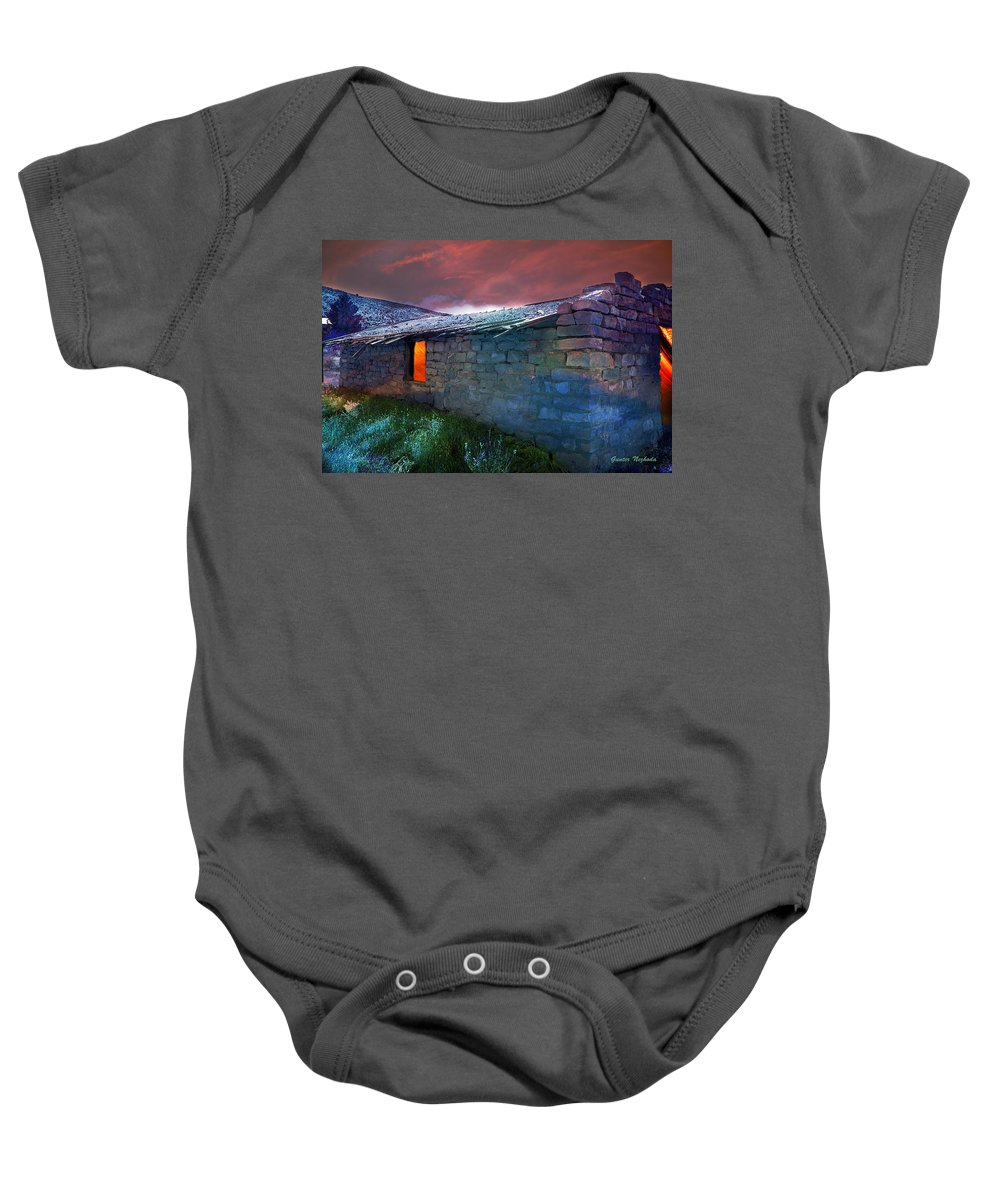 Ghost Town Baby Onesie featuring the photograph Fairy Tale Cabin by Gunter Nezhoda