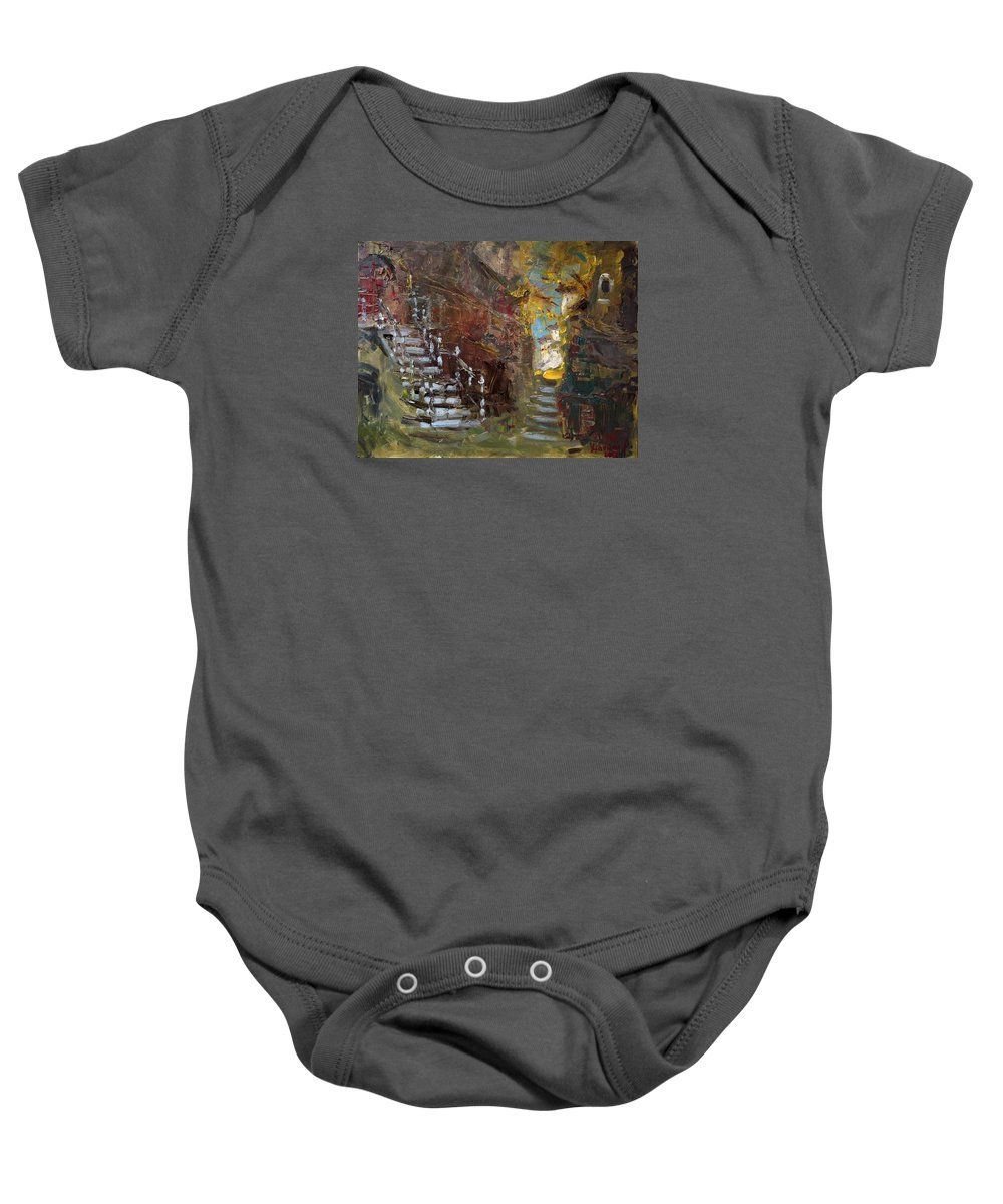 Fall Baby Onesie featuring the painting Fall In Albanian Village by Ylli Haruni