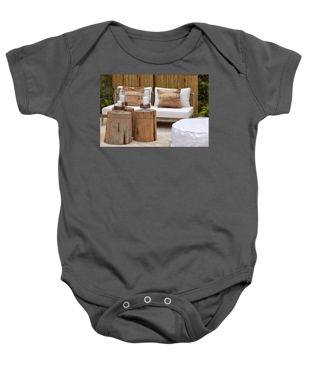 Logs Baby Onesie featuring the photograph Garden Seating Area by Sophie McAulay