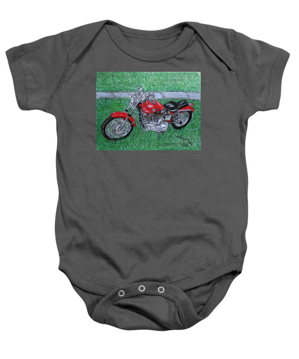 Harley Baby Onesie featuring the painting Harley Red Sportster Motorcycle by Kathy Marrs Chandler