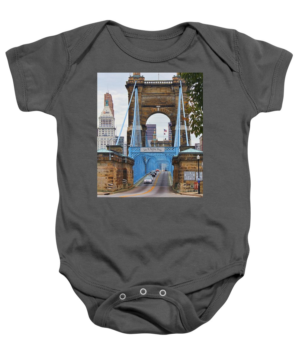 Roebling Bridge Baby Onesie featuring the photograph John Roebling Bridge 1867 by Jack Schultz