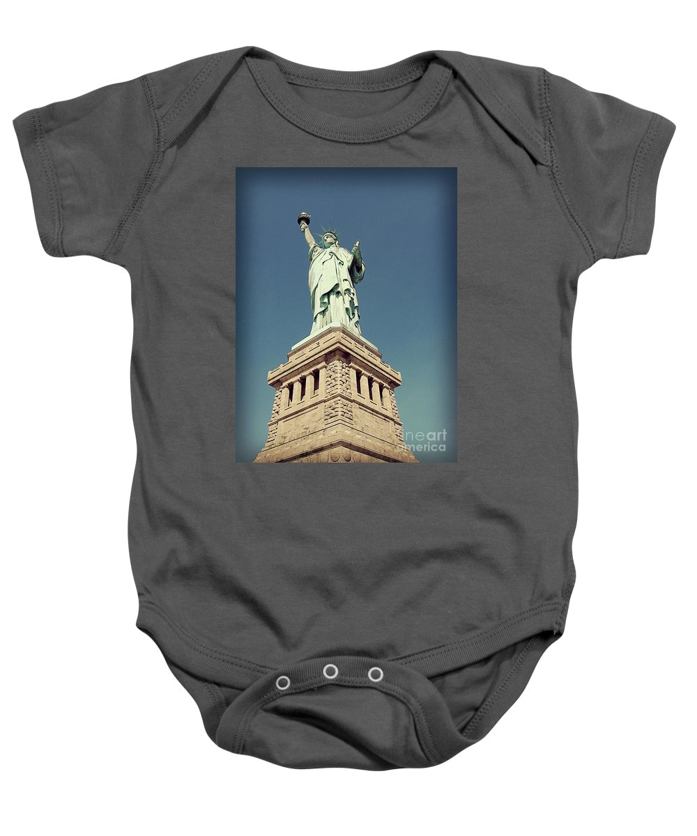 Statue Of Liberty Baby Onesie featuring the photograph Lady Liberty by Meghan at FireBonnet Art