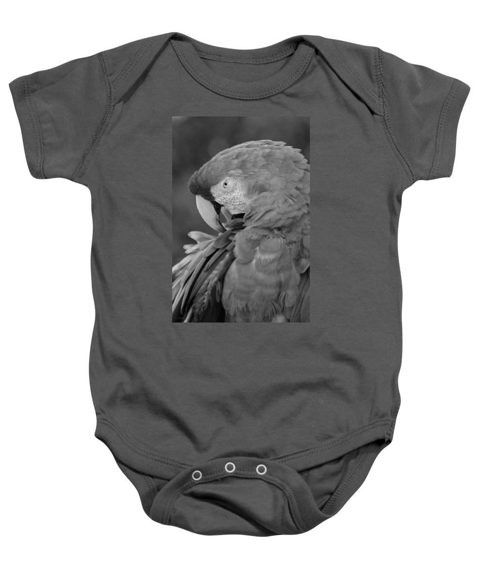 Macaws Baby Onesie featuring the photograph Macaws Of Color B W 17 by Rob Hans
