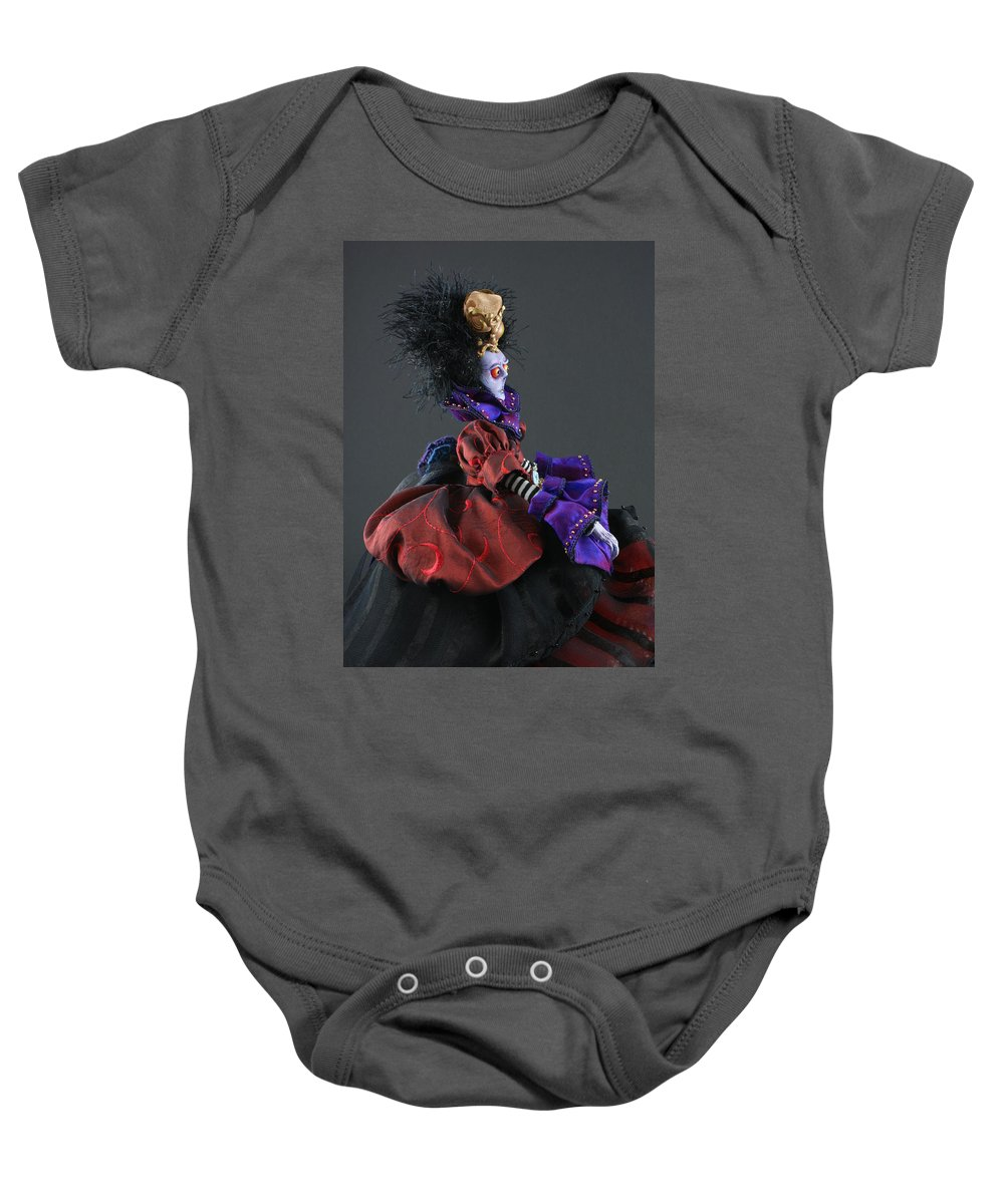 Mad Queen Baby Onesie featuring the sculpture Mad Queen by Judy Henninger