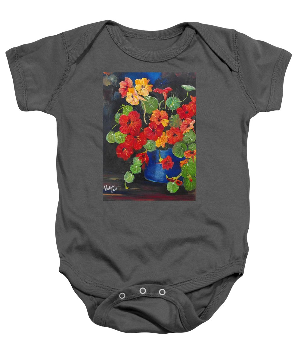 Nasturtiums Baby Onesie featuring the painting Night Nasties by Valerie Curtiss