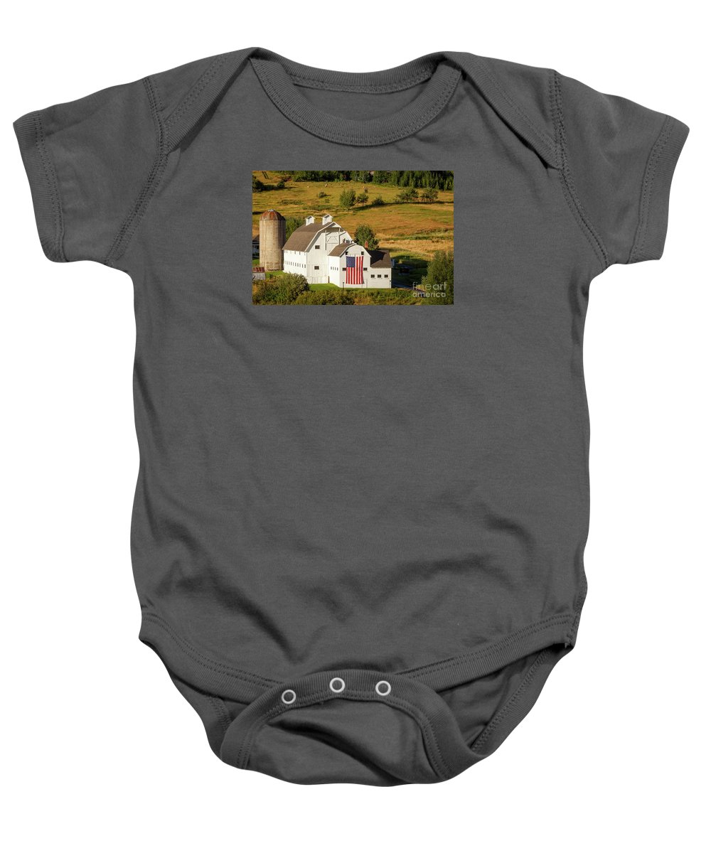 White Baby Onesie featuring the photograph Park City Barn by Brian Jannsen
