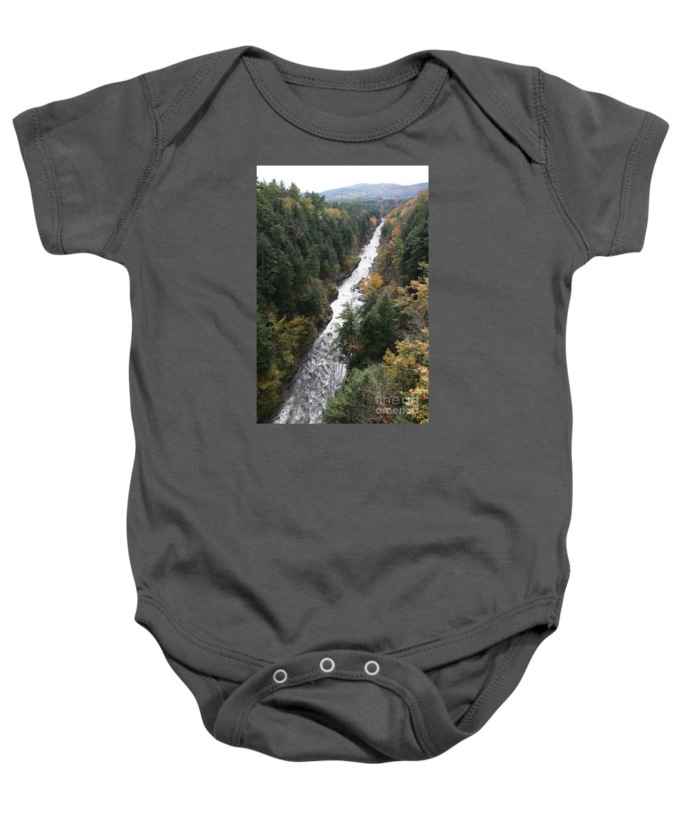 Quechee Gorge Baby Onesie featuring the photograph Quechee Gorge by Christiane Schulze Art And Photography